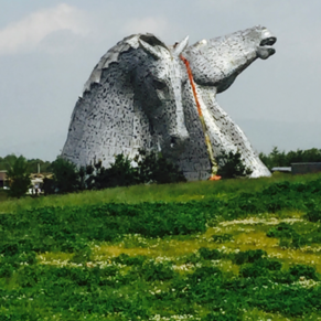 The Kelpies, 30 meters high and weigh 300 tonnes each.
