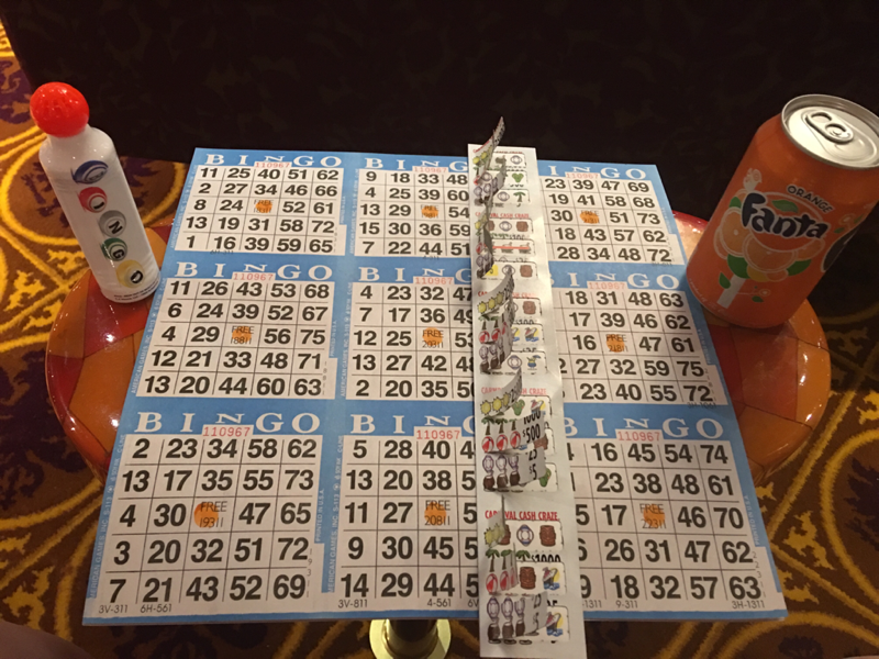 Bingo - $40 gets you this - only 3 games - Carnival Glory