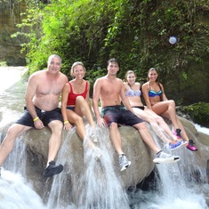 Taking a break from waterfall jumping at the Irie Blue Hold, Jamaica