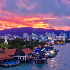 sun set leaving Penang in may 2017