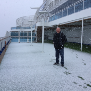 Regal Princess ... snowing.