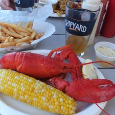 Dining at Gilbert's Chowder House.  Great food and not expensive.  Boiled lobster, french fries and an ear of corn for $24.95.
