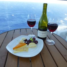 Cheese and wine on Balcony