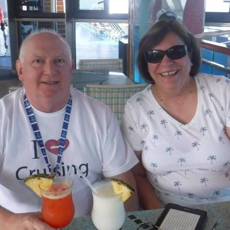 Enjoying our drinks on the lido deck - Carnival Splendor