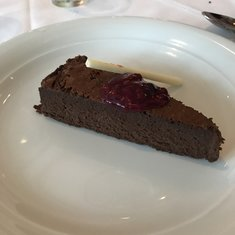Gluten-free flourless chocolate cake - not on the menu but available for people with gluten allergy!