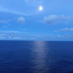 Moon after sailing from Freeport