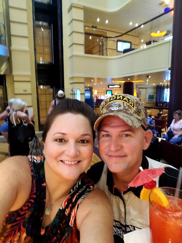 Our first drink! Welcome aboard the fun ship - Carnival Breeze