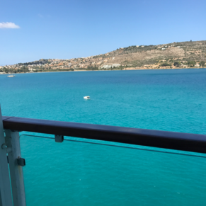 view of Crete from the boat