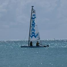 sailing  a Hobbie Cat