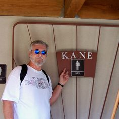 Hubby in front of the men's room