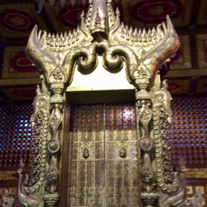 Yangon, Myanmar:  Ancient Khmer Throne in National Museum (2 April 2016)