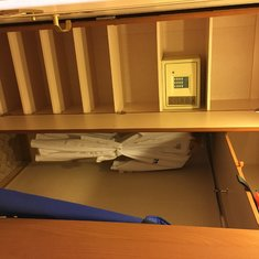 Shelves, closet and safe. Lots of storage