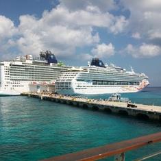 Cozumel, Mexico - 2 NCL Ships- Epic Farthest, Sun Closest