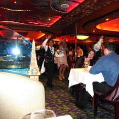 Monet Restaurant - head waitress Ida dances up a storm