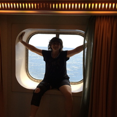 Sitting in the oceanview window.  It's pretty spacious for a window view!