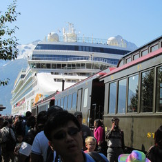 Railway and Norwegian Pearl in Skagway