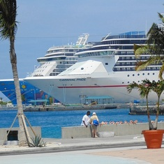Docked in Nassau next to a Carnival ship. Photo taken from a nice public square.