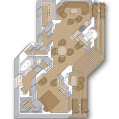 Floor Plan, Penthouse Suite, Vista & Signature Class HAL Ships,  inc Westerdam