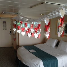 Stateroom decorations congratulating our 45th wedding anniversary.