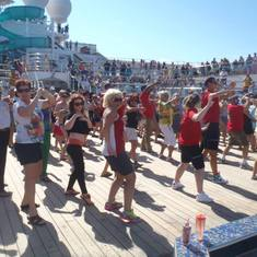 Dancing on Deck while Waiting to leave