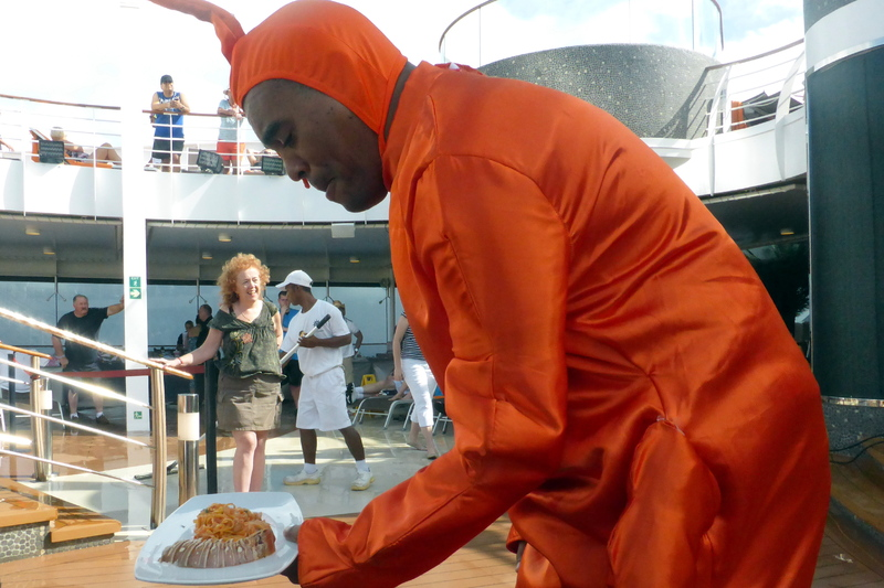 Lobster Man serves us food from the cooking demonstration - MSC Divina