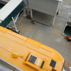 View from the balcony looking down at the life boat