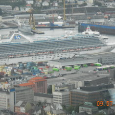 Ship in Berggen,Norway from funicular