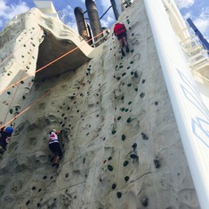 Rock climbing on the ship!