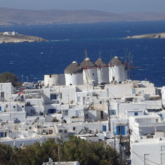 Mykonos, Greece - View of Mykonos with 5 windmills