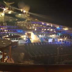 Night view of the main deck