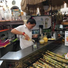 Fresh juiced sugar cane mojitos on Las Palmas