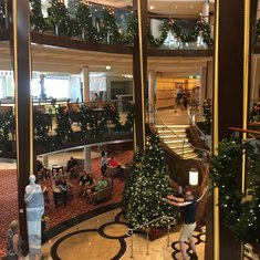 The Atrium decorated for Christmas.