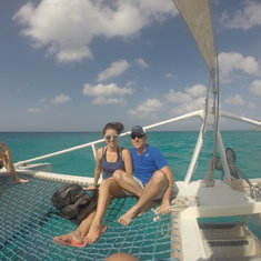 """The catamaran """"trampoline"""" net area at the front"""
