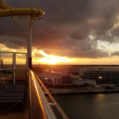 Sunset as we sail from Port Canaveral