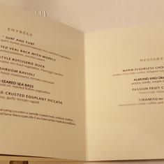 Gala night menu
