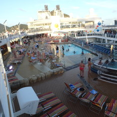 View of the pool area on the ship