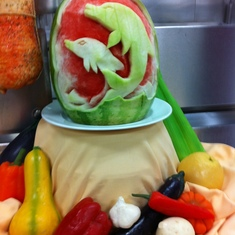 Skagway, Alaska - Food Art displayed on the galley tour