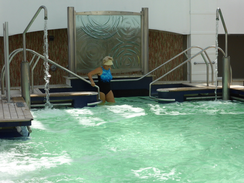Entering the warm water of the Thalassasotheraphy pool.   - Celebrity Summit