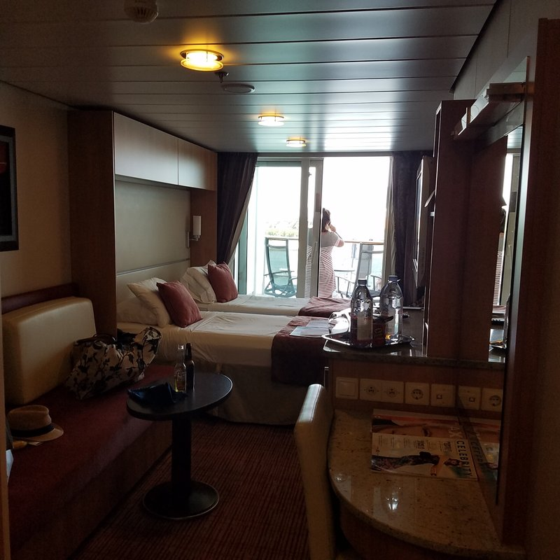 Deluxe veranda stateroom obstructed view cabin category for Celebrity equinox cabins photos