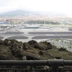 Gibraltar runway, notice Spain on the other side and road crossing the runway.