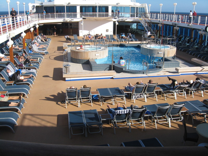 Pool deck, good hot tubs, no chair hogging either - Pacific Princess
