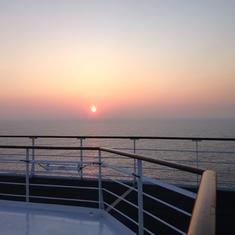 sunset on deck QM2