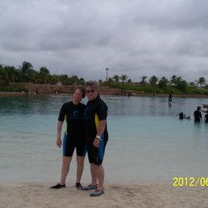 All suited up for the sealion swim at Atlantis.