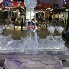 Ice sculpture for the Super Bowl in the boardwalk.