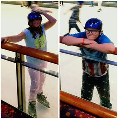 The kids stopping to say hi while ice skating on Freedom of the Seas