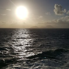 Sunrise on the Atlantic Ocean from deck 7 balcony on Freedom of the Seas