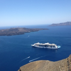 View of ship in Santorini