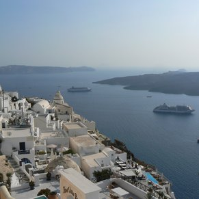 What a great view. Aegean Sea and Thira