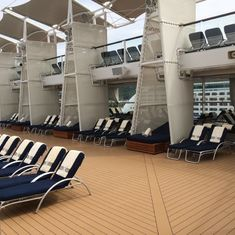 The pool deck - decked out and awaiting guests.