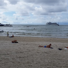 Phuket Beach our Ship in the background